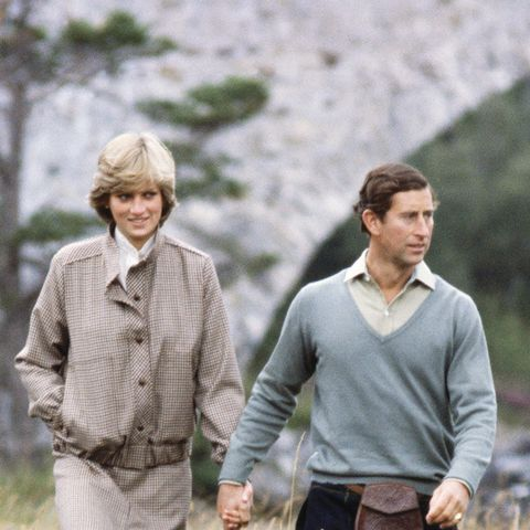 eighties fashion:  Princess Diana in a checked coat, with Prince Charles