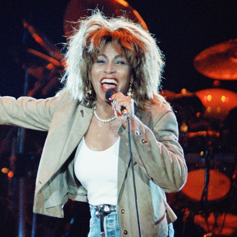 eighties fashion:  Tina Turner in those ultimate '80s trouser--the high-waisted jeans