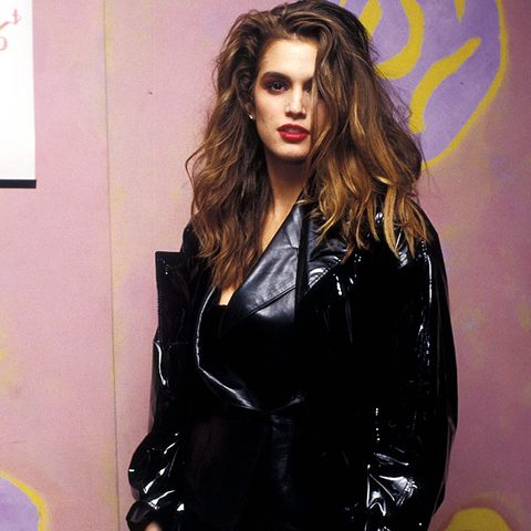 eighties fashion: Cindy Crawford in a vinyl coat