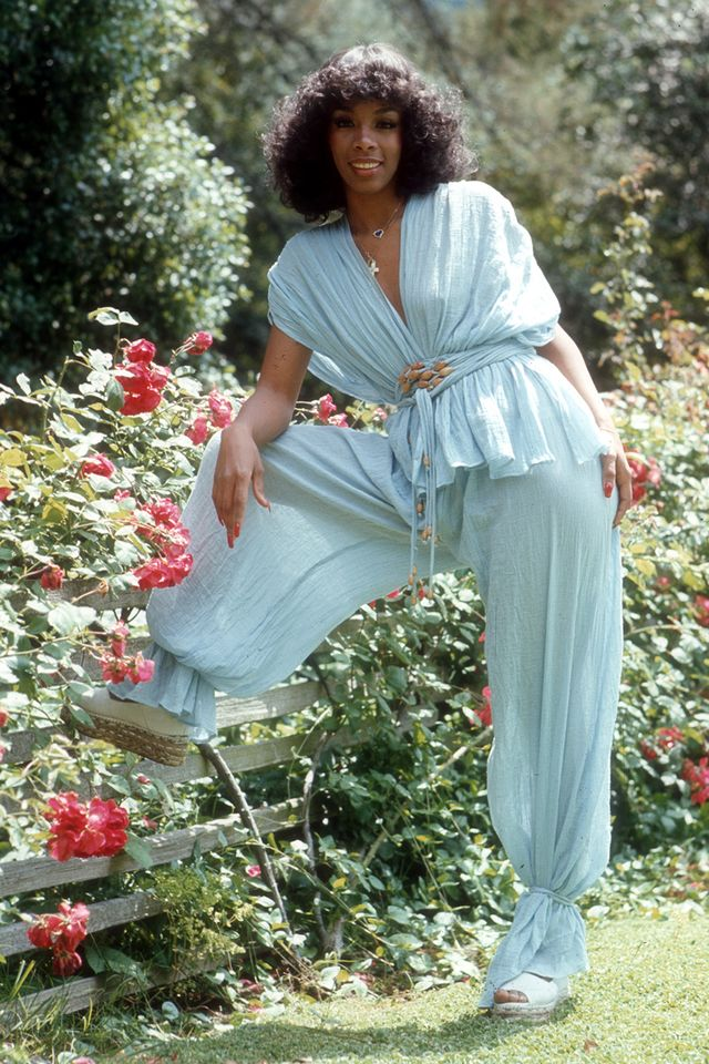 Eighties fashion: Donna Summer in blue harem pants and a matching top