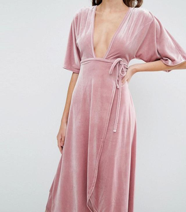 ASOS Kimono Tie Velvet Plunge Midi Dress