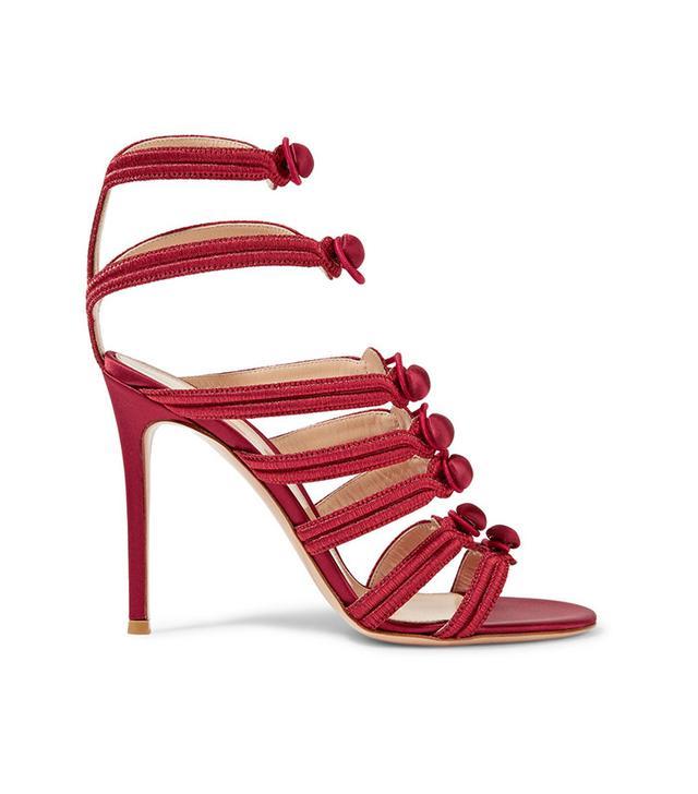 Gianvito Rossi Regalia Embroidered Satin Sandals