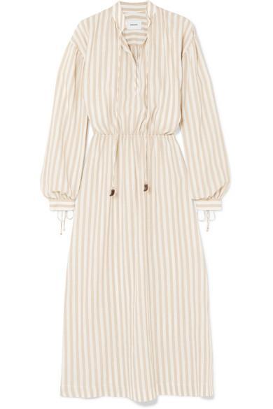 Tala Striped Cotton And Linen-blend Midi Dress
