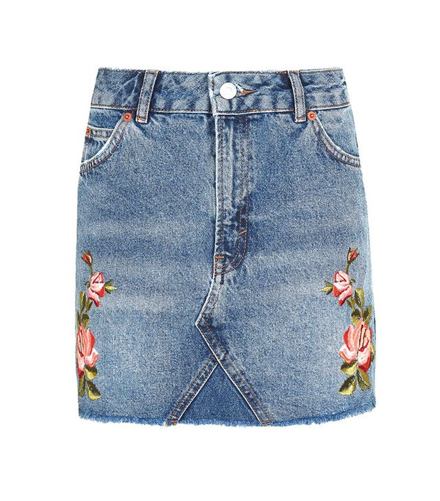 Topshop Rose Embroidery Skirt