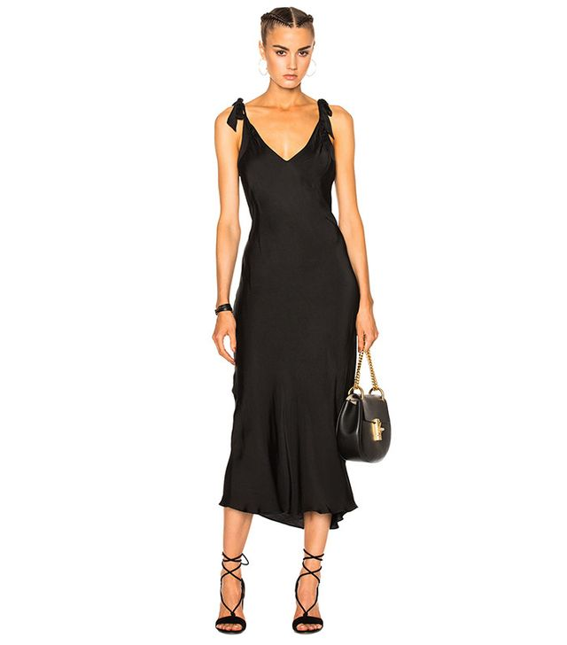 Raquel Allegra Bias Bow Maxi Dress