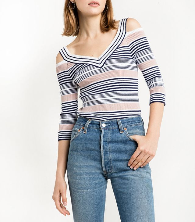 Pixie Market Striped Cold Shoulder Knit Top