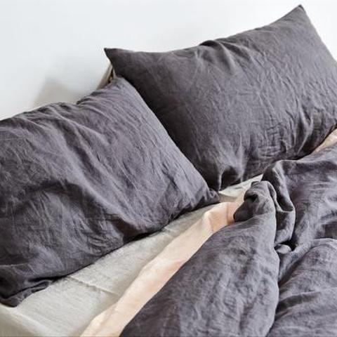 100% Linen Duvet Cover in Charcoal