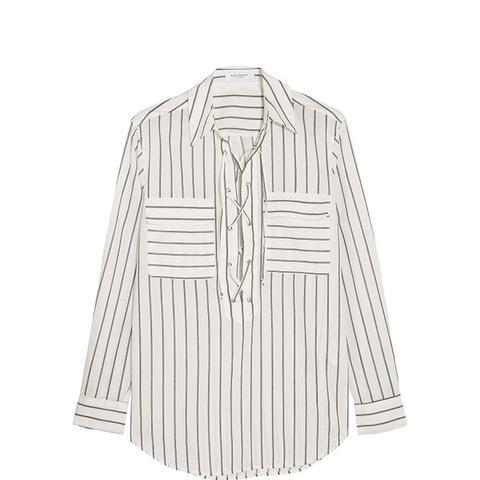 Knox Lace-Up Striped Cotton Shirt