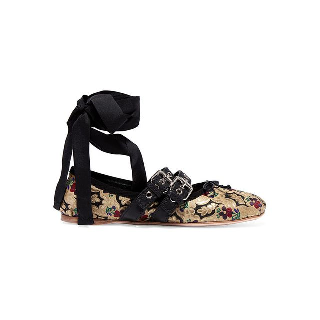 Miu Miu Lace Up Leather Trimmed Brocade Ballet Flats