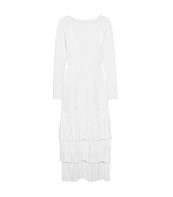 Alaïa Tiered Pleated Jacquard-Knit Midi Dress