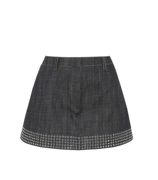 Alaïa Eyelet-Embellished Denim Mini Skirt