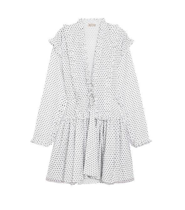 Alaïa's Ruffled Swiss-Dot Cotton Mini Dress