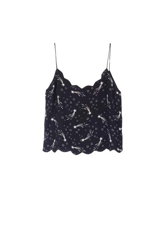 Kate Moss Paola Silk Camisole True Black / Nature White Comet Print