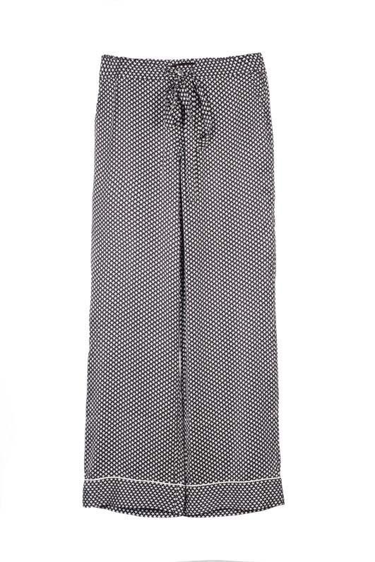 Kate Moss Avery Silk Pajama Pants True Black/Nature White Tiny Stars Print