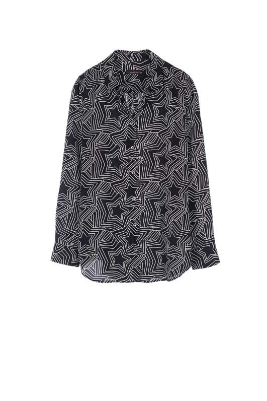 Kate Moss Clean Slim Signature Silk Shirt True Black Trippy Star Print
