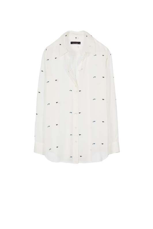 Kate Moss Slim Signature Clean Silk Shirt Nature White Starman's Eyes Printed
