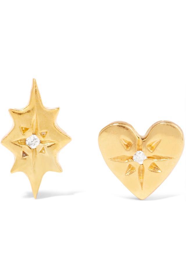 Scosha Nova and Classic Heart Gold-Plated Diamond Earrings