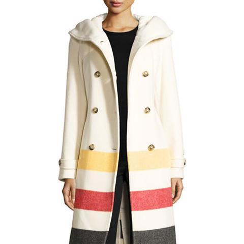 Monica Hooded Belted Wool-Blend Coat
