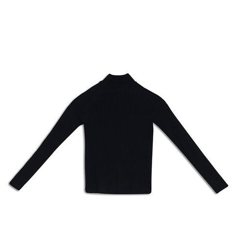 Slim Rib Mock Neck Sweater