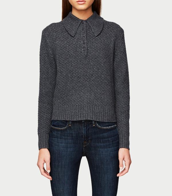 Frame Button Shawl Collar Sweater