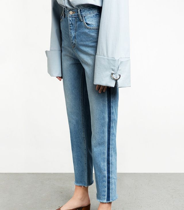 Pixie Market Side Stripe Denim Straight Leg Jeans