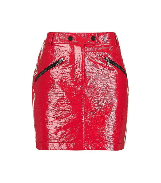 Topshop Slick Coated Miniskirt