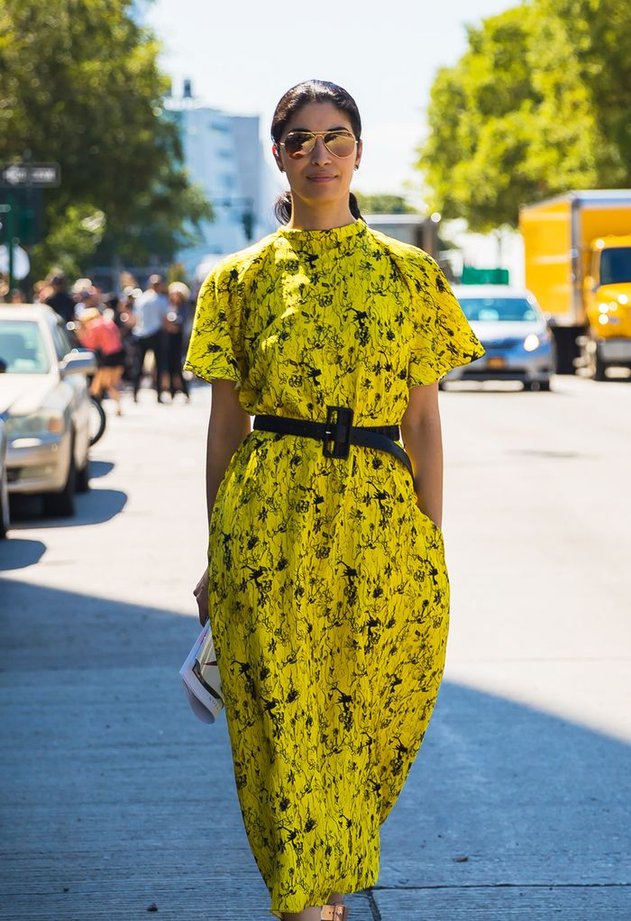 what to buy for work: woman wearing a yellow dress