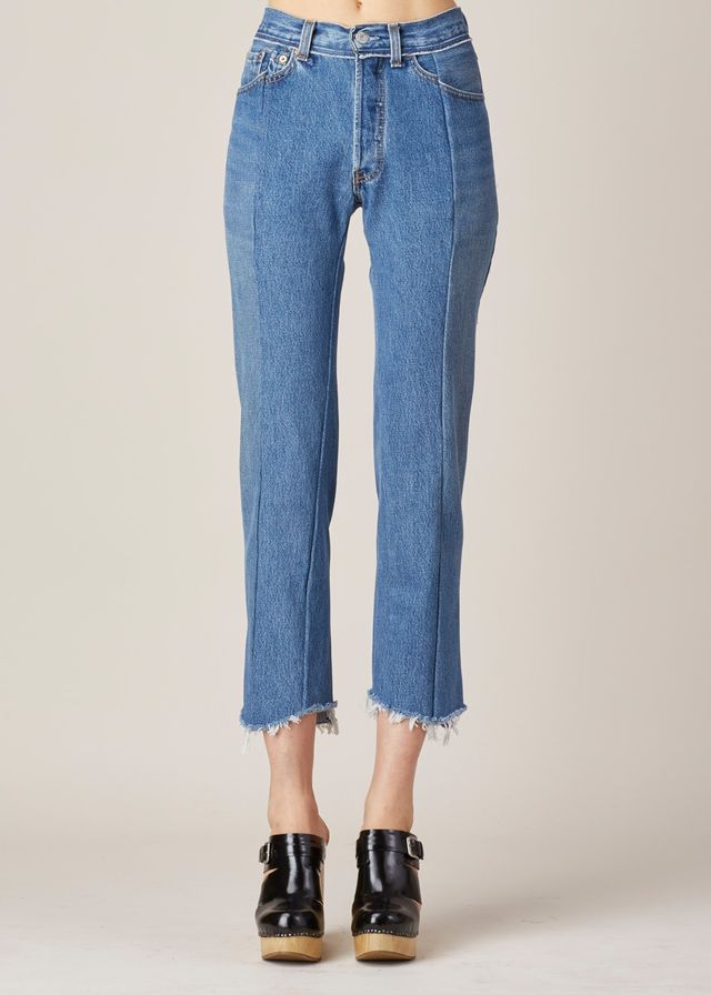 Vetements Blue Raw Hem High Waisted Jeans