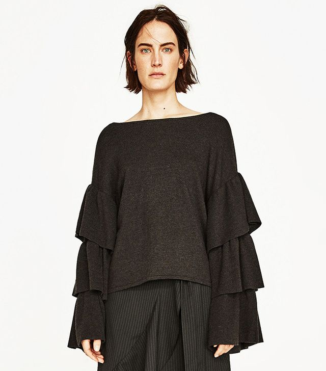 Zara Soft Sweater With Frilled Sleeves