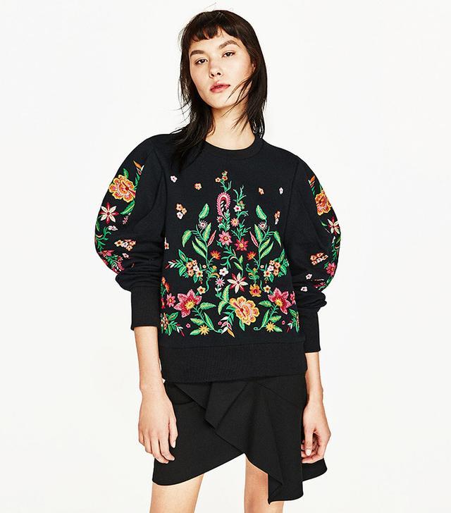 Zara Embroidered Flower Sweater
