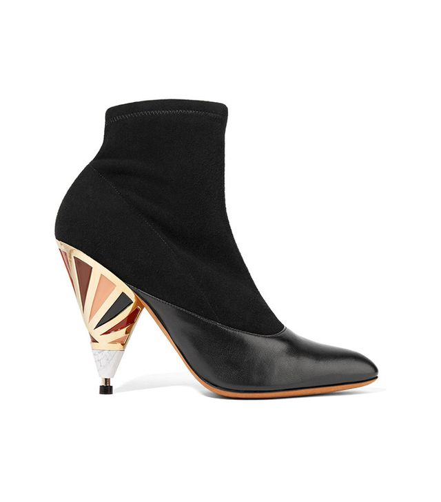 Givenchy Embellished Leather-Paneled Suede Ankle Boots