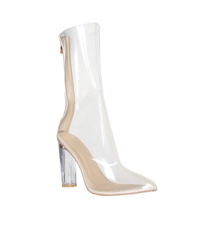 Ego Tasha Perspex Clear Ankle Boot
