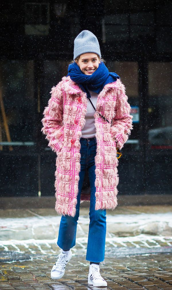 Sneakers and jeans are also conveniently the perfect base layer for bundling up!