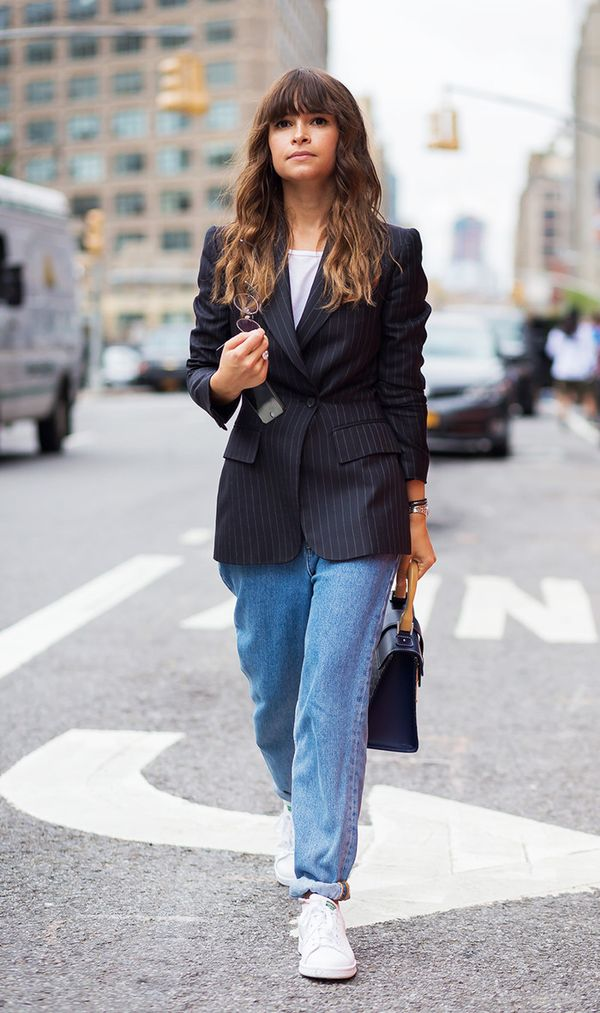 Take your look into professional-adjacent territory by buttoning up a pinstripe blazer.