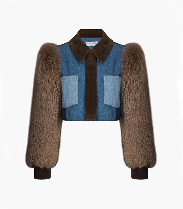 Sonia Rykiel Short Denim Jacket With Fur Sleeves