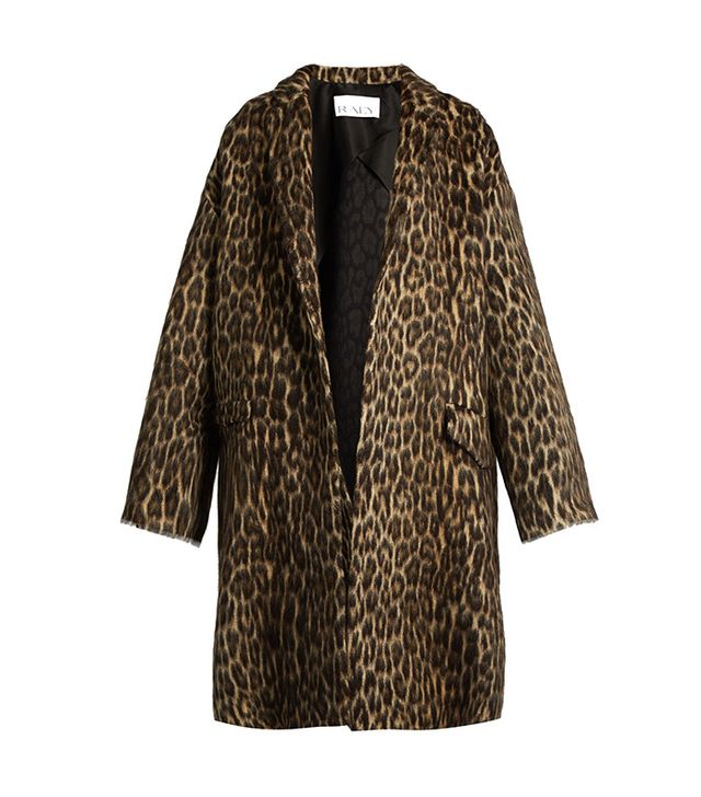 Raey Leopard-print wool-blend blanket coat