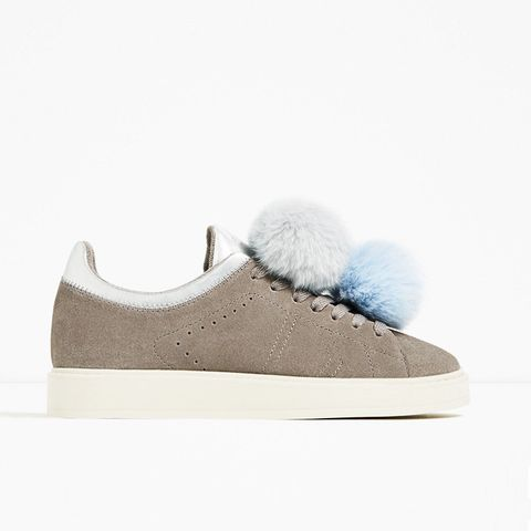 Grey Leather Sneakers with Pom Poms