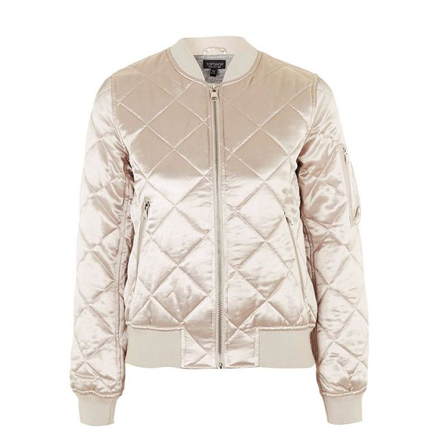 Best over 40 fashion bloggers: Topshop Shiny Quilted MA1 Bomber