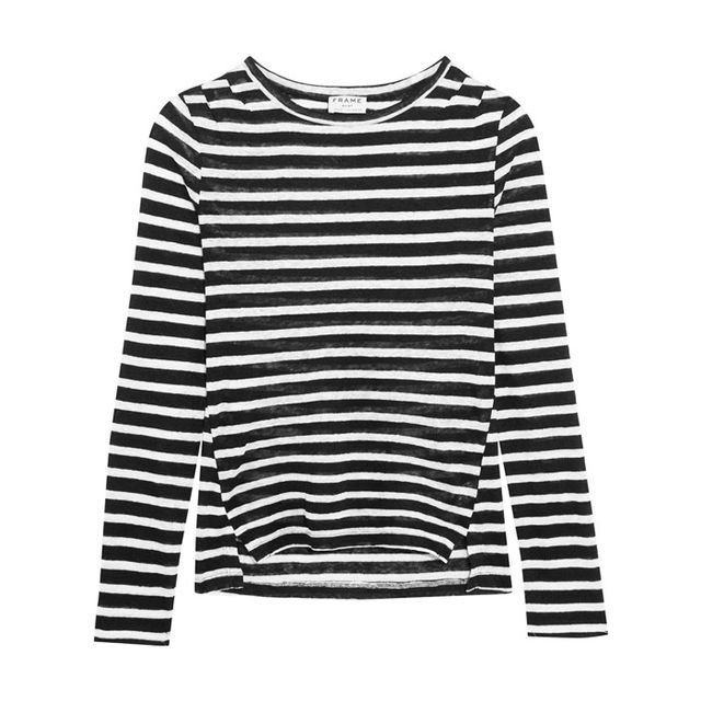 Best over 40 fashion bloggers: Frame Pintucked Striped Linen-Jersey Top
