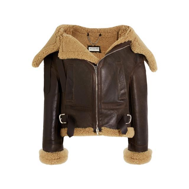 Best over 40s fashion bloggers: Balenciaga Swing Bombardier Oversized Shearling Jacket