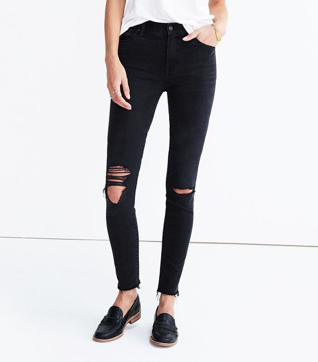 Madewell 9-Inch High-Rise Skinny Jeans in Black Sea