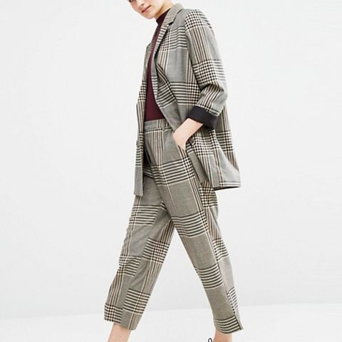 Tailored Oversized Check Blazer
