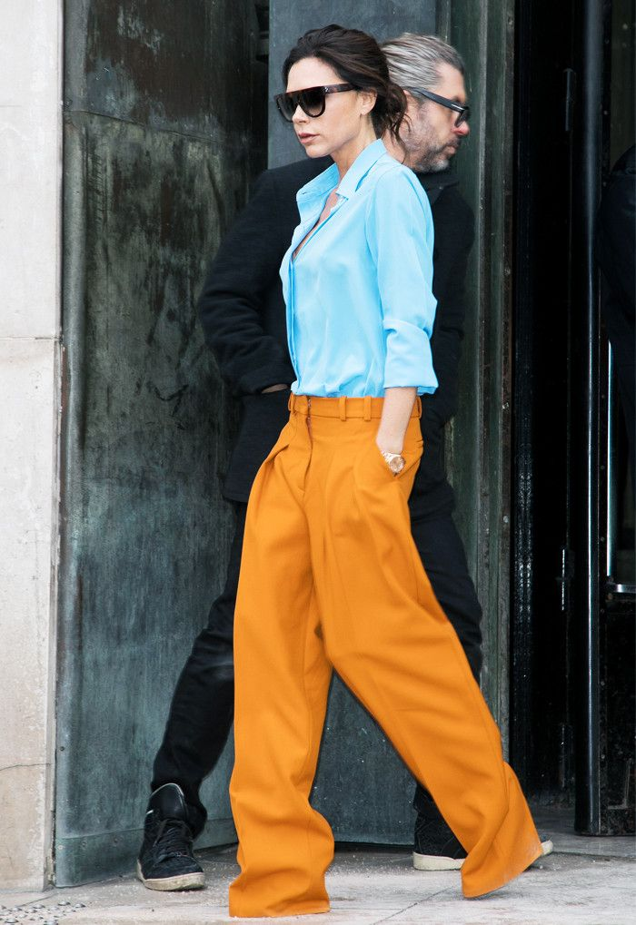Victoria Beckham blue and orange