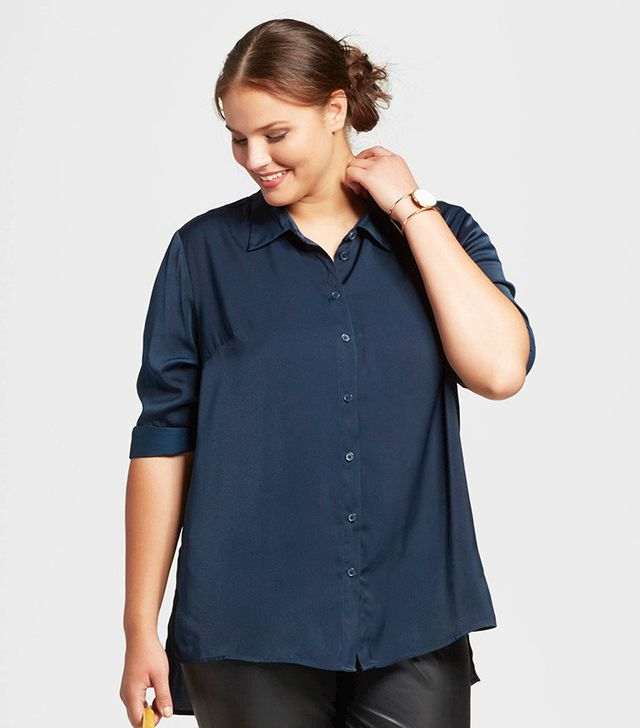 Who What Wear Plus-Size Straight-Hem Button Blouse