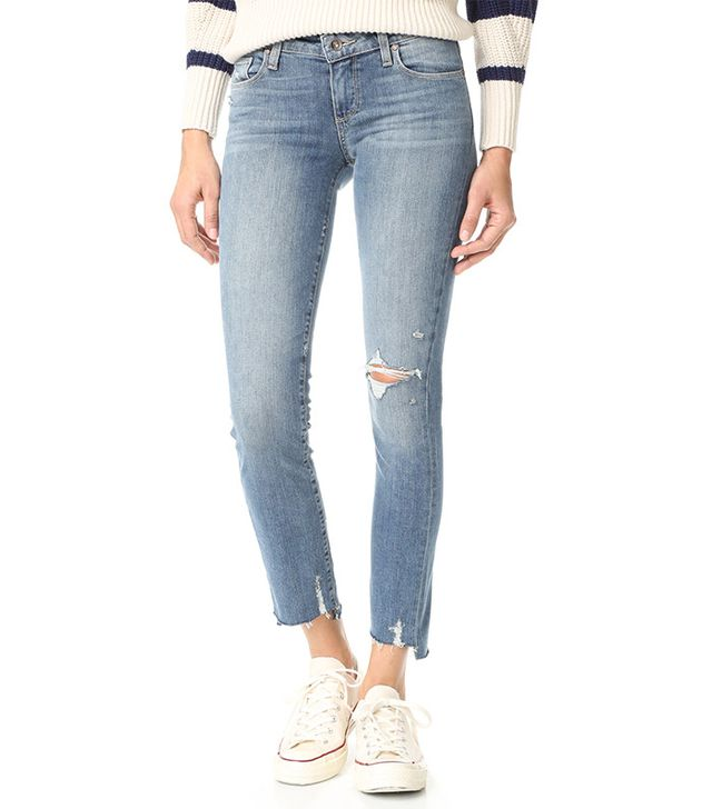 Paige Skyline Ankle Peg Jeans with Uneven Hem