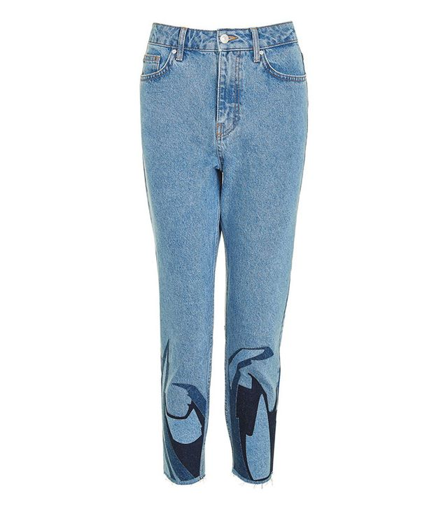 Topshop Moto Abstract Hem Mom Jeans