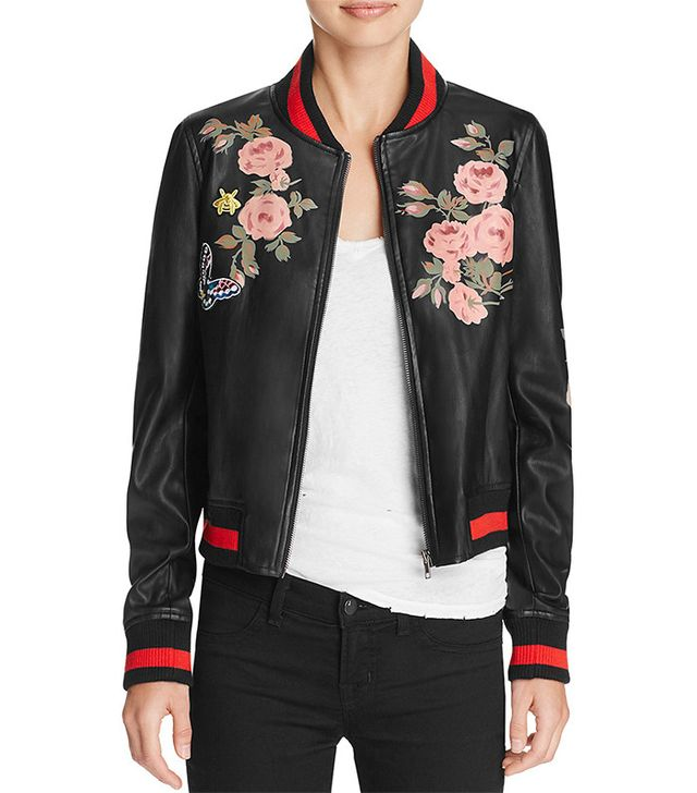 Bagatelle Faux Leather Floral Bomber Jacket