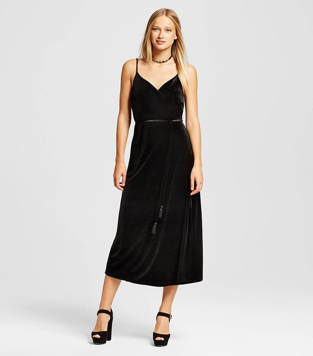 Who What Wear Velvet Wrap Slip Dress
