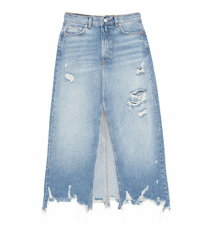 Zara Ripped Midi Denim Skirta