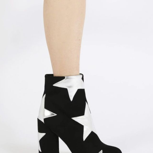 Best Manchester fashion labels: Public Desire Afra Silver Star Print Ankle Boots in Black Faux Suede